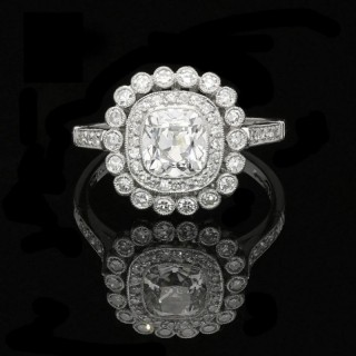 Old Mine Cushion Cut Diamond Double Cluster Ring By Hancocks