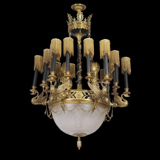 A fine Empire style cut glass, gilt and patinated bronze chandelier