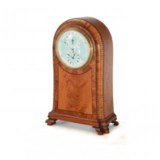 Satinwood Antique Alarm Clock with Regulator Dial, c.1900