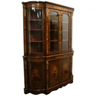 Mid Victorian Marquetry Display Cabinet