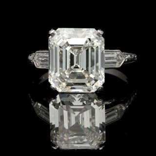 A 6.24ct Emerald Cut Diamond Ring With Bullet Diamond Shoulders By Hancocks