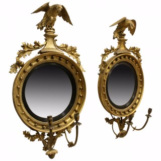 Pair of Regency Giltwood Convex Mirrors