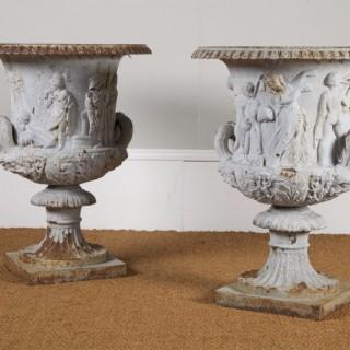 A Superb Pair of Cast Iron Urns