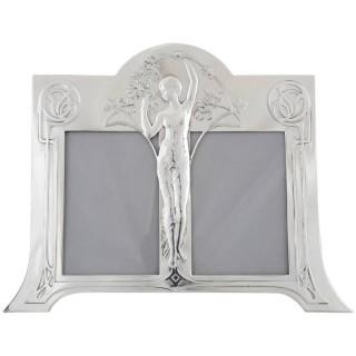 Art Nouveau double photo frame with maiden.
