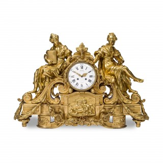 A fine and large ormolu mantel clock by Denière & fils