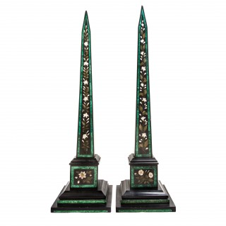 A fine pair of pietra dura and malachite inlaid marble obelisks