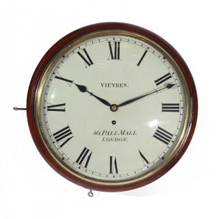 Eight day fusee dial clock signed Vieyres