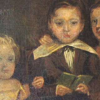 A Large Provincial Naïve School Oil on Canvas Portrait of Three Children c.1820-35