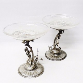 Pair of Victorian Silver Plated Compotes