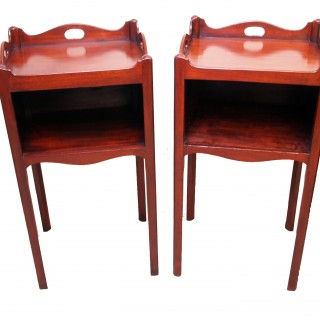 Antique Georgian Mahogany Pair Of Bedside Pot Cupboards