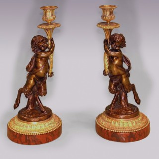Pair of Louis XVI Style 'dancing fawn' Candlesticks