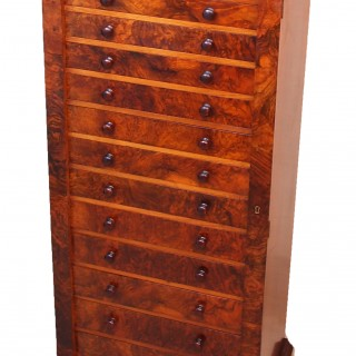 Antique 19th Century Burr Walnut Wellington  Chest