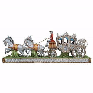 A large and impressive Tiche porcelain horse and carriage group