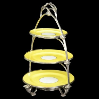 Silver Three Tier Cake Stand By Omar Ramsden 1932