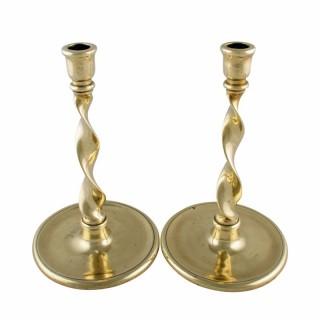 Pair of Brass Spiral Candlesticks
