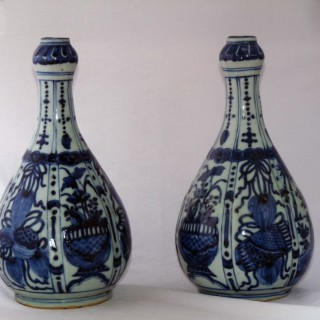 Ming Blue and White pair of Bottle Vases