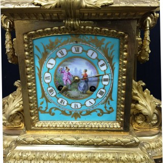 French Sevres mounted mantel clock