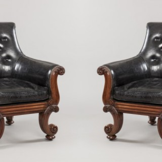 Pair of George IV Library Armchairs Attributed to Gillows of London & Lancaster