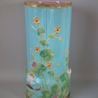 George Jones Majolica fish lily & buttercup stick stand
