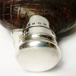 Antique Silver and Crocodile Hip Flask