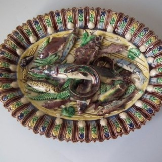Barbizet Majolica Palissy fish and eel platter