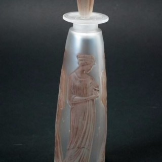 Rene Lalique Glass Perfume Bottle - 'Ambre antique' design