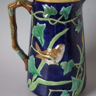 George Jones Majolica jug/pitcher with bird and ivy