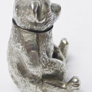 Pair of Antique Silver Teddy Bear Peppers