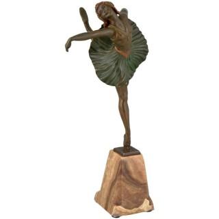 Art Deco bronze sculpture of  dancer.