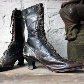 A Pair of Ladies Victorian High-Top Leather Boots c.1890