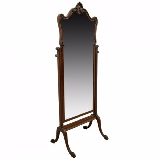 Chippendale Style Carved Mahogany Cheval Miror