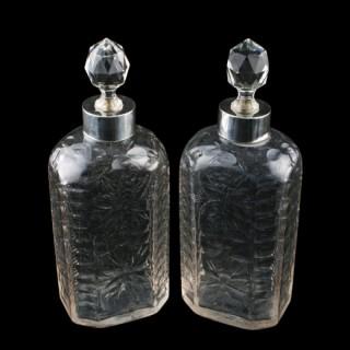 Pair of Silver Mounted Spirit Flasks