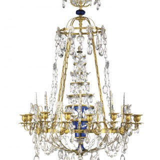 A Russian ormolu and blue glass sixteen light chandelier