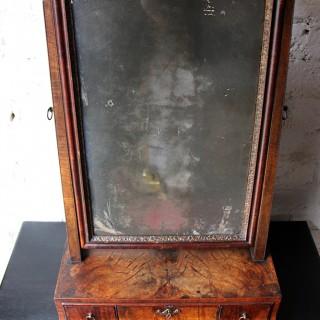 A Fine George II Period Figured Walnut Three-Drawer Dressing Mirror c.1730
