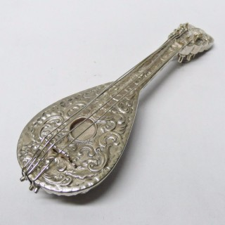 Antique Miniature Silver Mandolin Scent Bottle