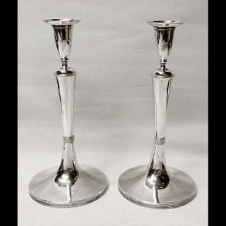Antique Hungarian Silver Candlesticks