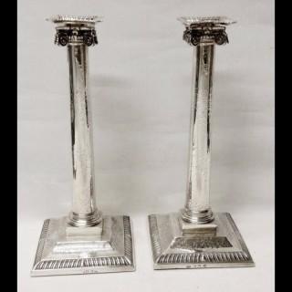 George II Silver Ionic Column Candlesticks