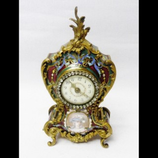 Antique French Champleve Enamel And Gilt-Bronze Clock