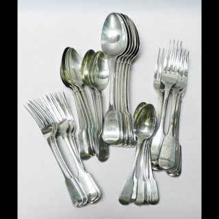Antique Silver Canteen of Cutlery for 6