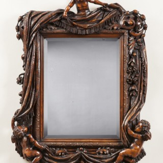 An Antique Carved  Mirror   By Valentino Panicera Besarel