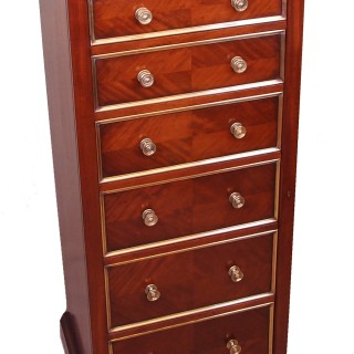 Antique 19th Century Mahogany Wellington Chest Of Drawers