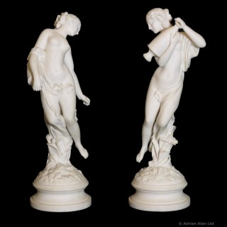 A Fine Pair of Parian Figures of Morning Dew' and 'Evening Dew'