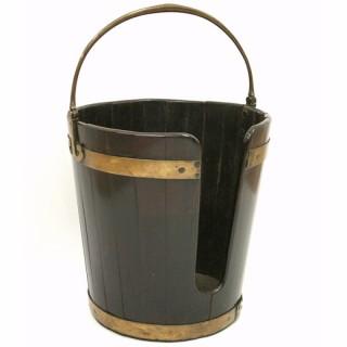 George III Mahogany Brass Bound Plate Bucket