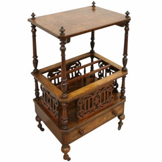 Victorian Walnut Canterbury Whatnot