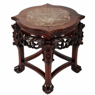 Chinese Carved Rosewood Stand