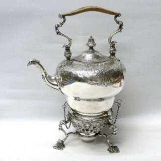 Georgian Style Silver Tea Kettle on Stand