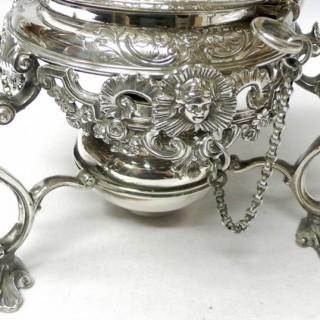 Georgian Style Silver Tea Kettle on Stand