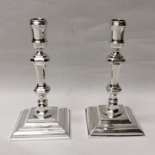 George II Style Cast Silver Candlesticks