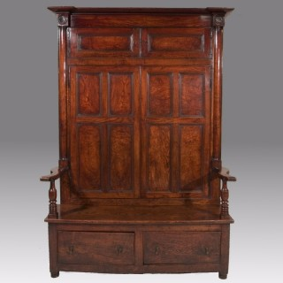 A Late 18th Century Burr Elm Bacon Settle