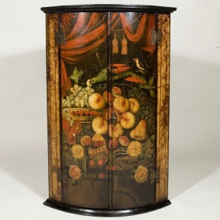 A Mid 18th Century Anglo-Dutch Painted Hanging Corner Cupboard
